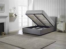 grey storage ottoman fabric bed frame in single 3ft or