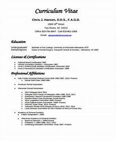 Curiculum Vitae Sample 8 Dentist Curriculum Vitae Templates Pdf Doc Free
