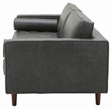 rivet aiden tufted mid century modern leather bench seat