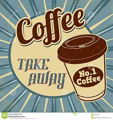 kaffe plakat kaffee nehmen retro plakat weg vektor abbildung