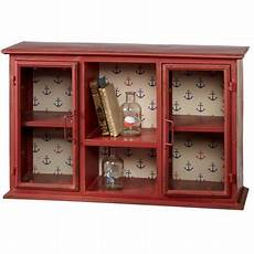 cbk home away distressed wall cabinet with anchor pattern