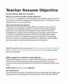 Objective For Resume Teacher Teacher Resume Sample 37 Free Word Pdf Documents