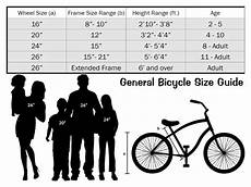 Bike Size Chart By Height General Bicycle Size Chart