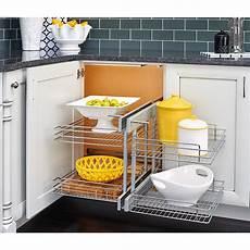 rev a shelf blind corner cabinet pull out chrome 2 tier