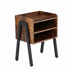 Hoobro End Table Rustic Side Table With 3 Tier Shelf by Hoobro End Table Stackable Nightstand 3 Tier Side Table