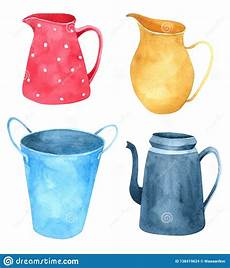 Collection Of Hand Drawn Greetings Words Jug Watercolor Collection Isolated On White Background