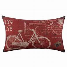 bicycle linen square throw flax pillow decorative