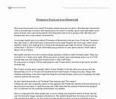 Persuasive Essay On Homework Persuasive Essay On Less Homework University Education