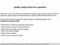 Qa Analyst Interview Questions Quality Analyst Interview Questions