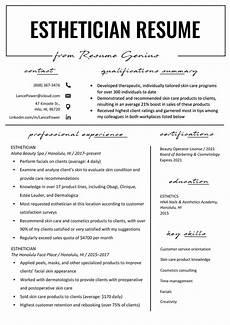 New Esthetician Resumes Esthetician Resume Example Amp Writing Tips Resume Genius