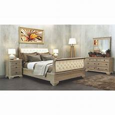 seville king bed with upholstered headboard acacia wood