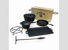 Jim Beam Cast Iron 6 Piece Grill Cookware Set with Wooden