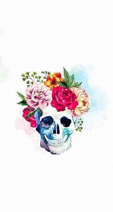 floral skull iphone wallpaper flower skull fondo de pantalla fondos de