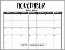 November Template Just In Fully Editable 2016 Calendar Templates In Ms Word