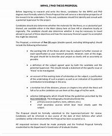 Thesis Proposal Template Word 10 Thesis Proposal Templates Free Samples Examples