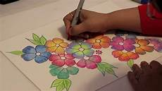 Drawings Of A Flower Gradient Flowers Color Pencil Tutorial Youtube