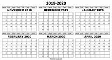 Calendar Month November 2020 6 Month November 2019 To April 2020 Calendar Printable