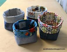 fabric crafts recycled sews recycled denim fabric baskets