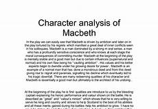 Character Sketch Essay Example Character Analysis Of Macbeth A Level English Marked