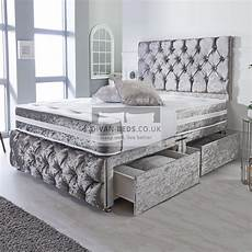 belmont silver crushed velvet divan with airflow