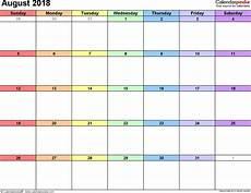 Printable Calendar August August 2018 Calendars For Word Excel Amp Pdf