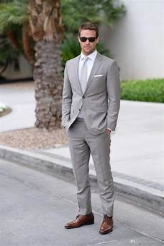 Best Shoes For Light Grey Suit Light Gray Wedding Mens Suits Slim Fit Bridegroom Tuxedos