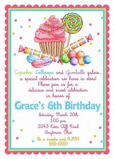 Second Birthday Party Invitations Sweet Shop Birthday Party Invitations Candy Cupcake