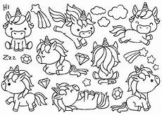premium vector clipart kawaii unicorns outlines