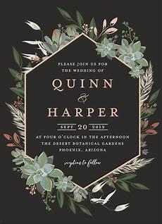 E Invitation Design Wedding Invitation Design Featuring A Succulent Geometric