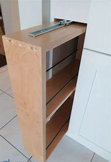 kitchen storage turn a filler panel into a pull