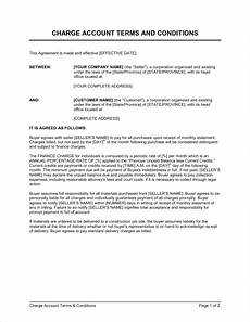 Delivery Terms And Conditions Template Charge Account Terms And Conditions Template Word Amp Pdf