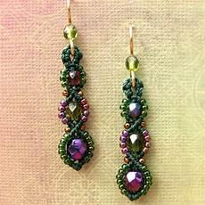 beadwork earrings macrame earrings beaded earrings beadwork purple and green