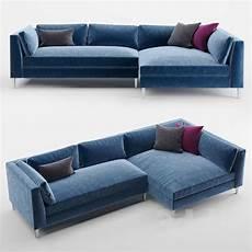 Blue Sofa 3d Image by 3d Models Sofa Cb2 Decker 2 Blue Velvet Sectional