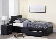 serene 3ft single black faux leather bed frame by