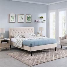 agnes fully upholstered size platform bed frame low