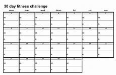 30 Day Calendar 30 Day Fitness Challenge Fervent Foodie