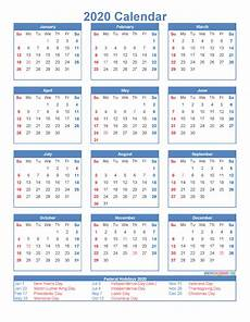 2020 Printable Monthly Calendar With Holidays Free Printable 12 Month Calendar 2020 With Holidays Free