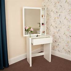 white wooden dressing table with mirror cupboard