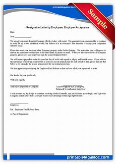 Exit Letter To Employer Free Printable Resignation Letter By Employee Employer