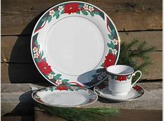 Deck the Halls Christmas holiday dishes for 4, Tienshan china