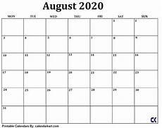 Calendar August Printable August 2020 Calendar Calendar Kart