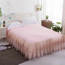 lace pink beige bed skirt king