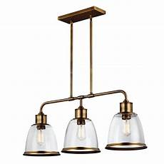 Kitchen Island Pendant Lights Uk Linear Kitchen Island Pendant In Aged Brass With 3 Hanging