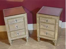 Bedside Cabinets Pair Deco Mirrored Bedside Cabinets Chests Tables