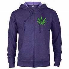 Light Purple Hoodie Mens Seven Leaf Granddaddy Purple Strain Black Light Zip Hoodie