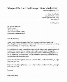 Sample Post Interview Thank You Letter Free 7 Sample Post Interview Thank You Letter Templates