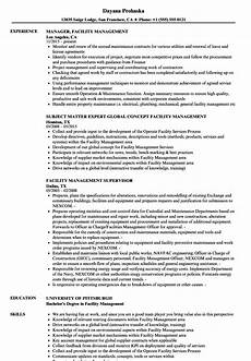 Facilities Manager Resume Facility Management Resume Samples Velvet Jobs