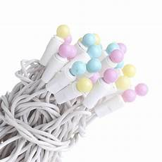 Christmas String Lights White Cord 50 Count Pastel Globe Bulb And White Cord String Lights