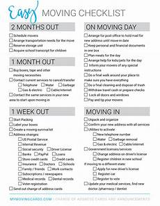 Check List For Moving Free Printable Moving Checklist Personalized Moving Cards
