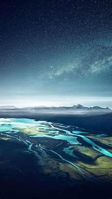 4k Wallpaper Mobile by Mountain Range River Landscape Starry Sky Free